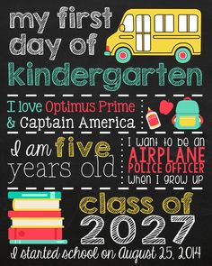 """""""Back to school subway art"""" """"First Day of Kindergarten Sign"""" """"First Day of Kindergarden Subway Art"""" """"Subway art"""" by evelyn First Day Of School Pictures, First Day School, School Photos, School Daze, School Fun, Back To School, School Ideas, School Subway Art, Kindergarten First Day"""