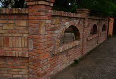 Bontott tégla kerítés Brick Paving, Brick Fence, Brick Wall, Brick Steps, Garden Retaining Wall, Square Columns, Front Gates, Brick Patterns, Garden Living