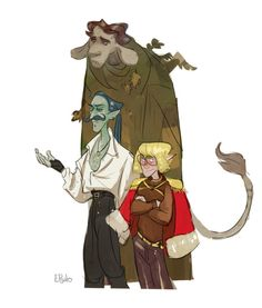 [Id: sketch of the player characters from Taz: Graduation. Tallest is the firbolg. He has grey fur and brown hair. He looks unimpressed. Second tallest is Argo, water. Adventure Zone Podcast, The Adventure Zone, Character Concept, Character Art, Character Design, Mcelroy Brothers, Doll Repaint, Dnd Characters, Character Development