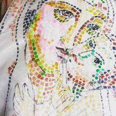 Handmade dress ; Madonna's mosaic