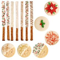 Decadent Eggnog Holiday Treats - Our Limited Edition Eggnog Candy Melts® candy add a burst of festive flavor to all of your treats. Delicious sandwich cookies and pretzels will create an irresistible dessert table.
