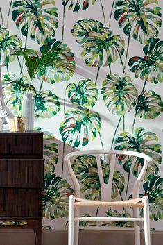 This floral beauty brings nature into the home. The exotic leaves in a stunning multi-colour design on a white background seem to be growing right . Tropical Wallpaper, Pattern Wallpaper, Decoration, Exotic, New Homes, Design, Room, Wallpaper Patterns, Floral Pattern Wallpaper