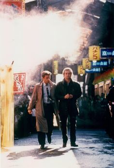Still of Michael Douglas as Nick Conklin and Andy Garcia as Charlie Vincent in Black Rain -- Photo by Paramount Pictures– © 1989 Andy Garcia, Black Rain Movie, Kate Capshaw, Neon Noir, Top Film, Movie Shots, Cult Movies, Films, Ridley Scott