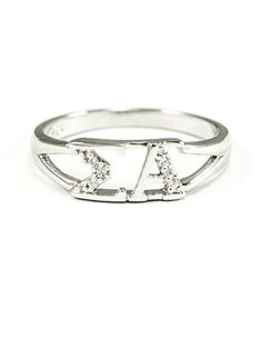 A beautiful and classy Sigma Alpha sterling silver ring, set with brilliant lab-created diamonds, designed exclusively by me. The ring is