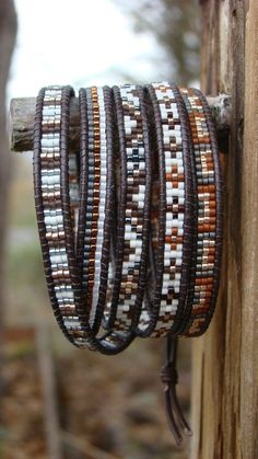 Items similar to Five Wrap Bracelet with Brown Leather Cord in Rich Coffee Tones. on Etsy Five Wrap Bracelet Bracelets Wrap En Cuir, Bead Loom Bracelets, Beaded Wrap Bracelets, Beaded Jewelry, Jewelry Bracelets, Art Necklaces, Statement Necklaces, Jewlery, Beaded Leather Wraps