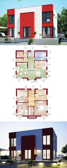 Flachdach-Haus Bauhausstil - Fertighaus Evolution 165 V9 Bien Zenker - Einfamilienhaus bauen Fassade rot weiß Grundriss modern offene Küche - HausbauDirekt.de