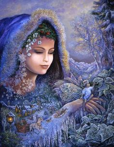 Spirit of Winter ~ Josephine Wall    Once again the beautiful spirit is called upon to complete the cycle of nature by creating a winter wonderland. As she moves across the landscape adorning trees and plants with their winter dressing she helps an eager assistant to paint leaves with frost. Children play in the snow and ice, blissfully unaware of the miracle that is unfolding before them. When her work is complete she will move on making room for the spirit of Spring to follow in her icy wake.