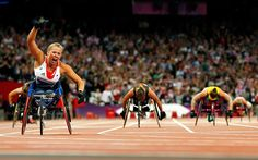 Speed: Britain's Hannah Cockroft winning the T34 2oom wheelchair race, setting a paralympic record of 31.90sec with a winning margin of more than two seconds  Picture: GETTY IMAGES