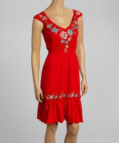 Loving this Red Floral Embroidered Knit A-Line Dress on #zulily! #zulilyfinds
