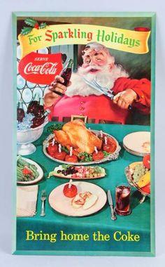 Lot # : 393 - 1956 Coca - Cola Santa Cardboard Sign.