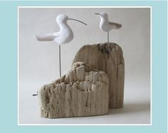 Cornish driftwood and clay Seabird and Seagull on driftwood rock . by DRIFTWOODandCLAY on Etsy