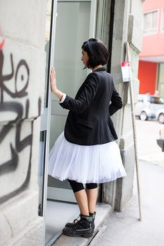 Tutu, Boots & Blazer. Awesome. (Via The Sartorialist)