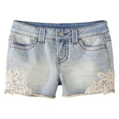 Husband got these for me! : )  Cute jean shorts with lace detail.