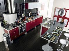 petite cuisine rouge | Déco | Pinterest | Red kitchen, Kitchens ...