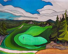 15th hole at Stonehaven West Virginia. Peeks of the cart path and old pine trees. This is not your typical golf course painting! Contemporary