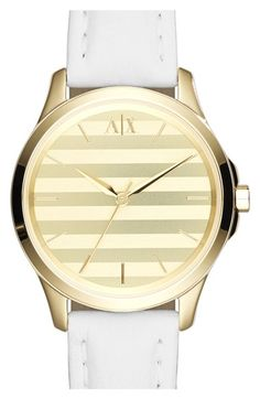 AX Armani Exchange Stripe Dial Leather Strap Watch, 36mm available at #Nordstrom