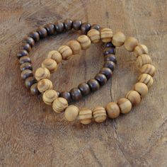 Wood beaded bracelet bracelet set men wood by AnnaRinJewelry