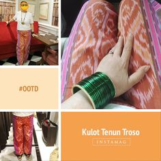 #OOTD I love to play with colours, mix match ethnic + modern, accessorized. My top is a modern simple modern cut blouse. My Culottes are made of Tenun Troso (handwoven textile with tribal Indonesian design). My bangles are called Choorae ( ethnic bangles from India) and my necklace is my own design. Handmade ethnic inspired made of etched alloy adorned with a natural Akiq stone (Agate) in the middle.