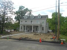 We installed James Hardie Cobblestone lap siding on this house located in Glendale. With the Arctic White corner and window trim, the homeowner loved it! Hexagon House, Soffit Ideas, Southern Farmhouse, Colonial Exterior, James Hardie, River House, Home Reno, House Front, House Colors