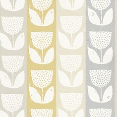 Evie  (1630/503) - Prestigious Wallpapers - An all over wallpaper design which features a paint effect printing of a flower motif. Shown here in the sunshine yellow colourway. Other colourways are available. Please request a sample for a true colour match. Paste-the-wall product.