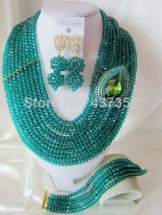 New Fashion Teal Green Crystal Beads Necklaces Bracelet Earrings Nigerian African Wedding Beads Jewelry Set  CPS-2489 $68.81