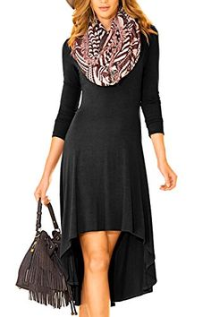 Creti Women Fashion Casual Long Sleeve Dresses Tunic Dress