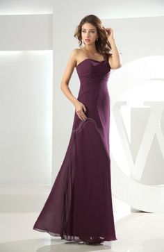 Plum Plain One Shoulder Sleeveless Backless Chiffon Floor Length Bridesmaid Dress