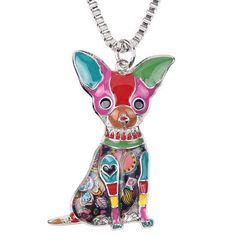 Adorable Multi Colored Chihuahua Dog Lovers Pendant Necklace Silver Tone
