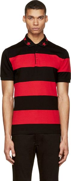 Short sleeve striped polo in red and black. Ribbed spread collar with red embroidered star detail. Three button placket. Slits at side seams. Tennis tail hem. Tonal stitching.
