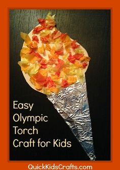 Olympic torch craft for kids by Quick Kids Crafts. Daycare Crafts, Preschool Crafts, Crafts For Kids, Craft Kids, Science Crafts, Kindergarten Crafts, Olympic Idea, Olympic Sports, Olympic Games