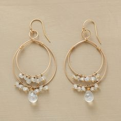 """LUNAR LIGHT EARRINGS--Moonstones flicker from concentric hoops handcrafted exclusively for us in 14kt goldfill. French wires. Made in USA. 2-1/2""""L."""