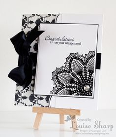 Just Add Ink 184 - Stampin Up Hello Doily Engagement card - By Louise Sharp Wedding Anniversary Cards, Wedding Cards, Scrapbooking, Scrapbook Cards, Engagement Cards, Congratulations Card, Card Tags, Creative Cards, Greeting Cards Handmade