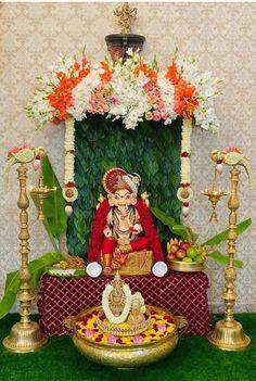 Ganpati Decoration Theme, Mandir Decoration, Ganapati Decoration, Gauri Decoration, Background Decoration, Backdrop Decorations, Flower Decorations, Backdrop Design, Diy Wedding Decorations
