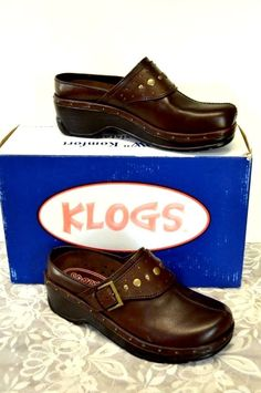 424a8a929cb NEW Klogs Austin Bling Open Back Clogs 7M Brown Leather Brass Buckles Studs