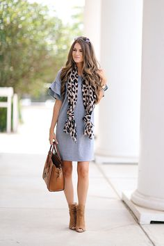 Dee Elly ruffle sleeve dress (less than $50), this one is very similar and even less $$ // leopard scarf // Celine hand...