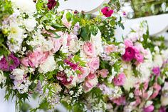 Pink and White Flower Arbor Decorations
