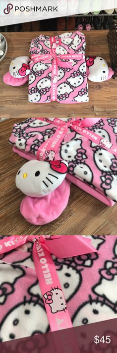 HELLO KITTY PAJAMA SET WITH PLUSH FEET Super cute for Christmas morning. Two piece set is brand new and never worn. Fleece top and bottom with an extra special surprise of Hello Kitty at the feet! Hello Kitty Intimates & Sleepwear Pajamas