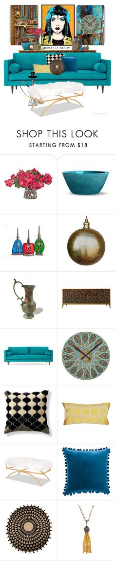 """""""Life is art, live yours in color"""" by blonde-bedu ❤ liked on Polyvore featuring interior, interiors, interior design, home, home decor, interior decorating, Moroccan Prestige, Global Views, Joybird and Frontgate"""