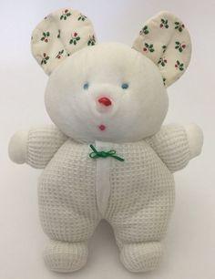 "Eden White Thermal Christmas Mouse Plush Baby Lovey Holly Ears Green 8"" RARE | eBay"