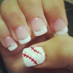 Here Are 7 Cute Baseball Nail Art Ideas Fancy Nails, Love Nails, Diy Nails, How To Do Nails, Pretty Nails, Softball Nails, Baseball Nails, Baseball Mom, Baseball Boyfriend