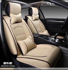 black beige brown red brand Luxury wear-resisting waterproof soft leather Front&Rear full Universal car seat covers easy clean