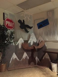 Mount Everest bible school classroom decoration #1 Cardboard mountains, cardboard moose, poster board signs and mountain climber