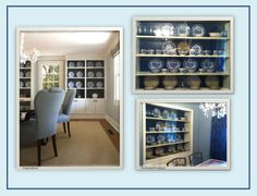 Anyone that's been watching my board has definitely seen my DR inspiration picture!  Well it's become a reality with the completion of my built-in china cabinet.  I had this set of blue and white china from by grandma and went with the inspiration paint scheme of a blue-gray wall, cream cabinetry and trim, and navy shelf back.  So happy with the results!