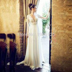 Robe de mariee Sexy Backless branca manga comprida vestido de noiva de renda vestido de noiva Chiffon uma simples linha Gelinlik 2016 frisado