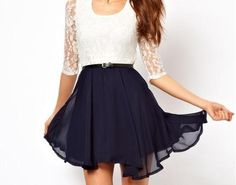 White Lace and Navy Dress