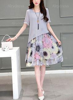 Chiffon Floral Short Sleeve Midi A-line Dress - Airydress Shift Dresses, Women's Dresses, Dresses Online, Casual Dresses, Fashion Dresses, Floral Dresses, Online Clothes, Ladies Dresses, Skater Dresses