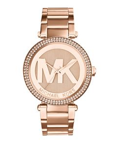 Torie love this one :) Michael Kors Mid-Size Rose Golden Stainless Steel Parker Chronograph Glitz Watch.