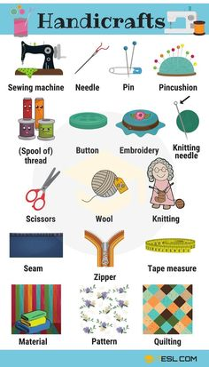Learn Handicraft Vocabulary with Pictures – 7 E S L Vokabeln lernen mit Bildern – 7 E S L Learning English For Kids, Teaching English Grammar, Kids English, English Writing Skills, English Language Learning, English Study, English Lessons, French Lessons, German Language