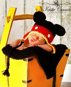 Hand crocheted Mickey Mouse inspired hat for baby /photo prop, Halloween, size 0 - 3 mos - Ready to Ship. $17.00, via Etsy.