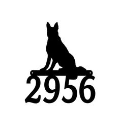 All items are made -to- order at Mega Metal Designs.  The German Shepherd Dog Address number Sign is shown here in black. It measures 14 inches